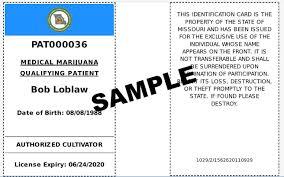 missouri medical marijuana cannabis card sample